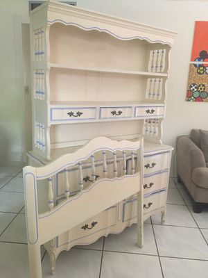 White and Blue Solid Wood Desk, Bookshelf and Twin Bed Frame for Sale in Fort Lauderdale, FL