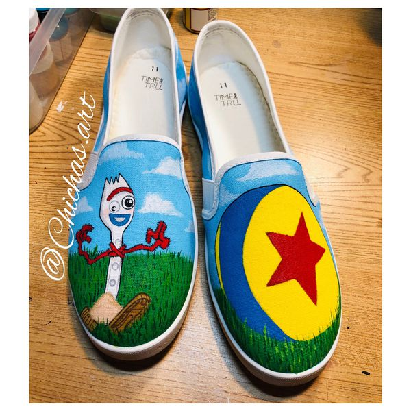 Hand painted Disney Pixar shoes! Ursula toy story, lilo and stitch for kids and adults! Check out prices in last picture