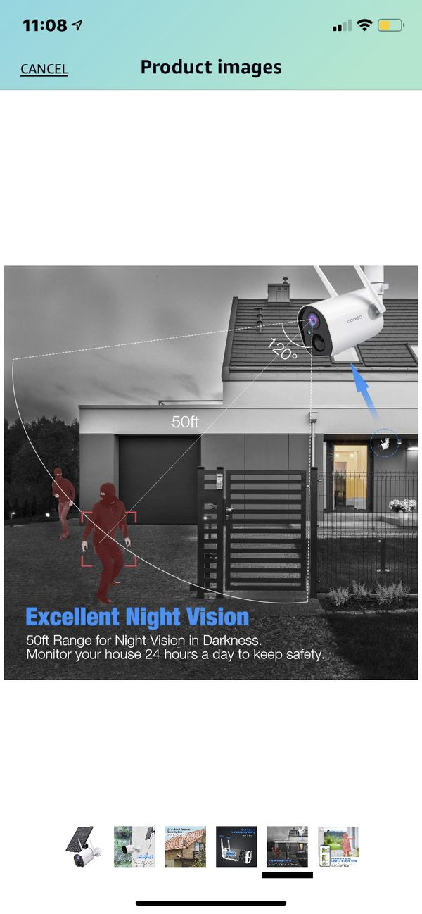 Outdoor Security Camera, Conico Wireless Solar Powered Rechargeable Battery Home IP Camera Surveillance WiFi Cam with Solar Panel Night Vision Two Wa