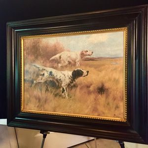 Gorgeous old, vintage style signed wall art, oil on canvas, Dogs H27/18xW33/24 Lbs 9.2 for Sale in Chandler, AZ