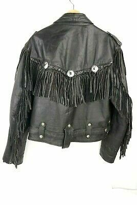 manzoor leather fringe tassel motorcycle ladie biker jacket for Sale in Westminster, CO