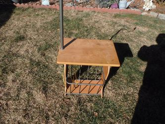 Wooden End Table with Lamp and Magazine Rack for Sale in Merrick,  NY