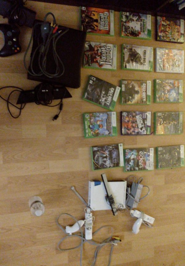 XBOX 360 plus games + Kinect+1 controller