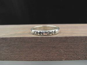 Size 7.75 Sterling Silver John 3 16 Religious Band Ring Vintage Statement Engagement Wedding Promise Anniversary Bridal Cool Special for Sale in Everett, WA