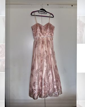 Cachet women's pink rose gold glitter formal prom wedding bridesmaids long dress for Sale in Artesia, CA