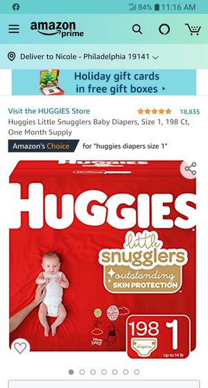 Huggies Little Snugglers Size 1 198 count (1 in Stock) Section Front DISPLAY for Sale in Phoenix, AZ