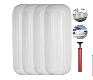 Boat Fenders Bumpers, Ribbed Twin Eyes Boat Fenders Bumpers Vinyl Boat Fender Pack of 4 and Pump to Inflate (8.5 x 27 inches) for Sale in Colton, CA