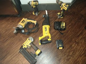 DeWalt Tools 20 v 1 Hammer Drill 1 impact drill 1 saw and 1 charger and 1 battery and 1 Nail gun 18 Gauge and 1 drill VSR Drill 120 volt for Sale in Orange, CA