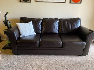 Couch- dark brown faux leather for Sale in Westminster, CO