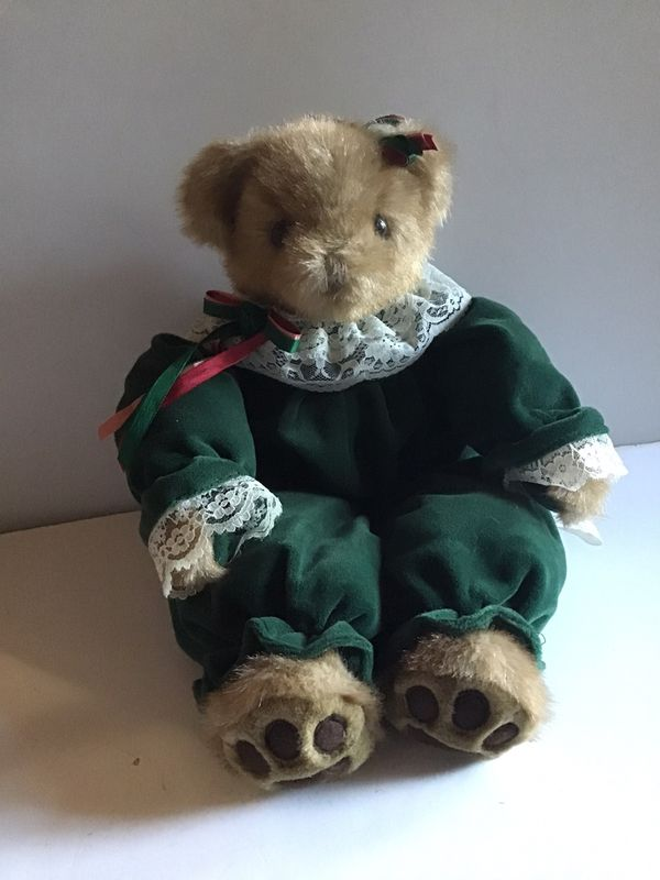 STUFFED BEAR IN GREEN DRESS W/ LACE COLLAR