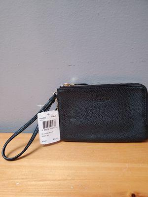 Brand New Coach Pebble Leather Double Corner Zip Wristlet Black Wallet $85.00 for Sale in Gardena, CA