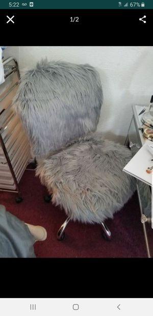 Gray fur vanity chair for Sale in Norwalk, CA