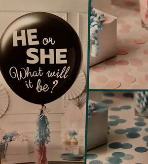 """Gender Reveal Party Kit- Extra Large 36"""" Balloon with Confetti and 36 P.C. cupcake picks for Sale in Ashburn, VA"""