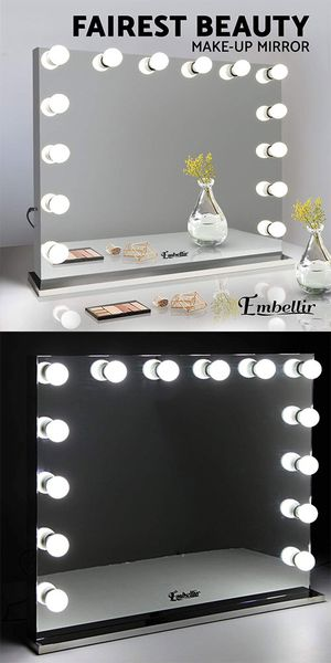 """New $300 Vanity Mirror w/ 14 Dimmable LED Light Bulbs, Hollywood Beauty Makeup Power Outlet 32x26"""" for Sale in South El Monte, CA"""