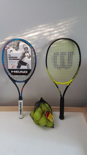 Two Tennis Racquets + 12 unused tennis balls for sale(one new & one used) for Sale in Rockville, MD