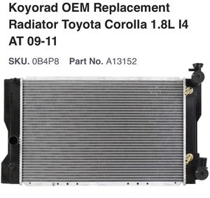 Koyorad OEM Replacement Radiator Toyota Corolla 1.8L I4 AT 09-11 for Sale in Lindon, UT