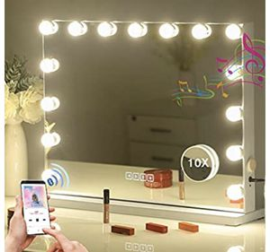 FENCHILIN Large Vanity Mirror with Lights and Blutooth Speaker, Hollywood Lighted Makeup Mirror with 15 Dimmable LED Bulbs for Dressing Room & Bedroo for Sale in Los Angeles, CA