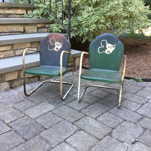 Set of antique metal kids outdoor chairs for Sale in Concord, MA