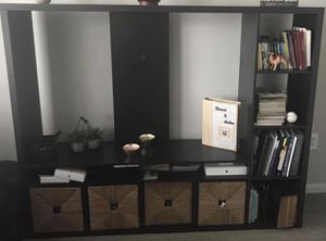 TV stand (black-brown) with wicker drawers. for Sale in Ashburn, VA