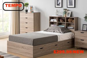 Twin Size 3-Drawer Storage Bed Frame with Bookcase Headboard, Dark Taupe for Sale in Garden Grove, CA