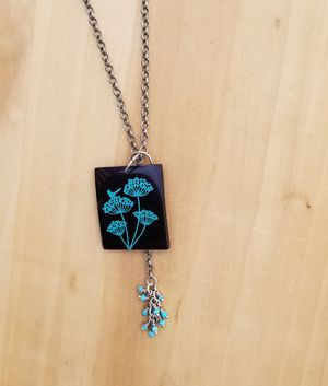 Black pendant with turquoise flowers necklace for Sale in Columbus, OH
