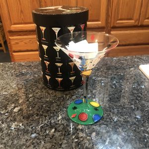 """Vintage Lolita """"Love My Martini"""" Pokertini Hand Painted Glass 10 ounces Brand New for Sale in Artesia, CA"""