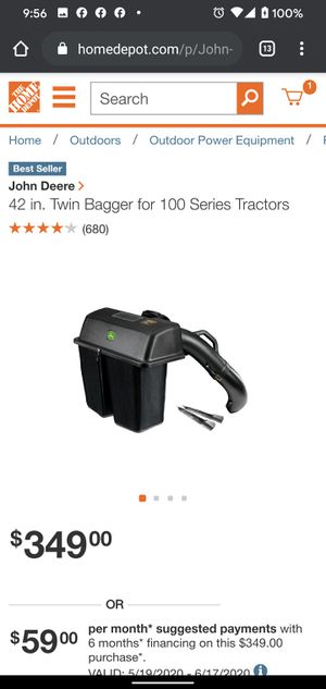 BG20776 John Deere 42 in. Twin Bagger for 100 Series Tractors for Sale in Huntington Park, CA