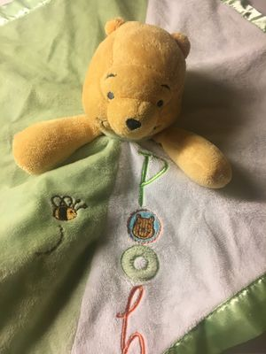 Disney Baby Green Satin Winnie the Pooh Security Blanket Plush Rattle Infant Toy for Sale in St. Peters, MO