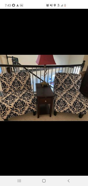 White and black 2 accent chairs only like new for Sale in Hayward, CA