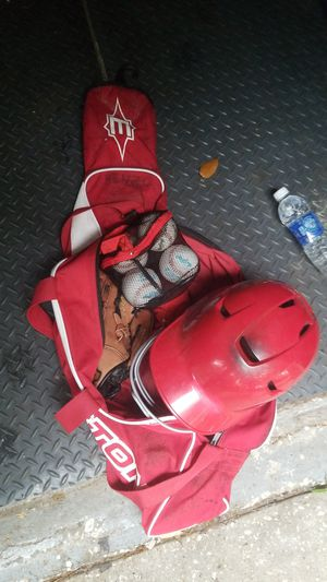 Baseball bag Youth Helmet 4 new balls and glove for Sale in Palm Harbor, FL
