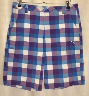 PUMA Mens Golf Shorts Blue White Checkered Flat Front Zip Pockets 100% Cotton 34 for Sale in Ocean Springs, MS