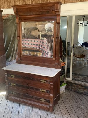 Antique marble top dresser with mirror for Sale in Rockville, MD