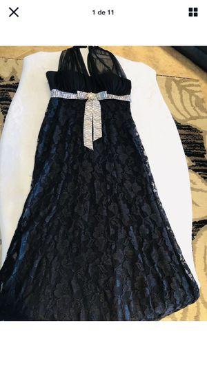 Women's Dress Long Lace With Shiny Belt Size M Black for Sale in Cincinnati, OH