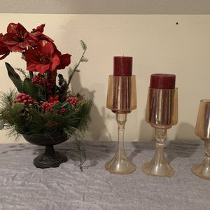 Christmas Candle Holders And Floral Decor for Sale in Houston, TX