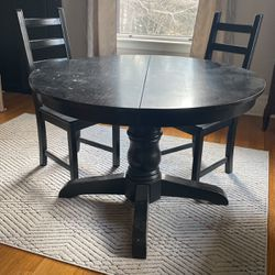 Black Pedestal Table With 2 IKEA Dining Chairs for Sale in North Smithfield,  RI