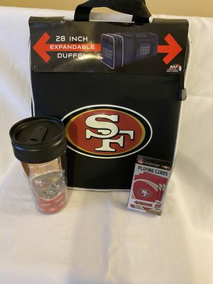 San Francisco 49ers duffle bag cup and playing cards for Sale in Bartlett, TN