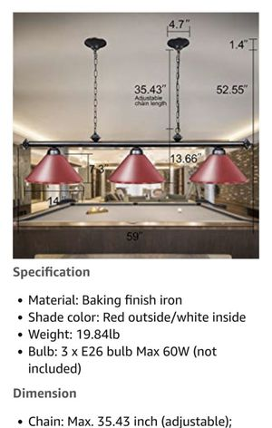 Wellmet 59-inch Hanging Pool Table Light, 3 Light Ceiling Light Industrial Pendant Lighting Fixture with Matte Lamp Shade, Kitchen Lights for Man Cav for Sale in Rancho Cucamonga, CA