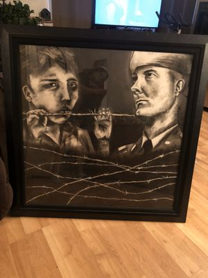 Guard n prisoner charcoaled framed art work for Sale in San Diego, CA