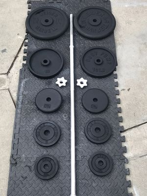 Standard Set Of Weights 1' With 5' Long Bar With Butterfly Clips for Sale in Los Angeles, CA