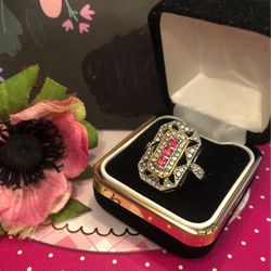 Noble Set Ruby Ring Rectangle Shape Wuth Pave Set White Sapphires On Sterling Silver Plated Sz6 for Sale in Macedonia,  OH
