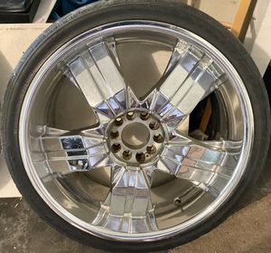 23' Inch Devino chrome rims (rare-discontinued) clean! Tires need replaced / no center caps rims kept in great condition! for Sale in Ocoee, FL