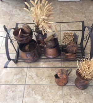 Metal pot rack with copper pots for Sale in Las Vegas, NV
