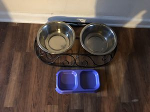 Doggie bowls with tray for Sale in Durham, NC