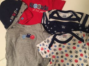 Gerber baby boy lot basketball onesie gown and hats for Sale in Southfield, MI