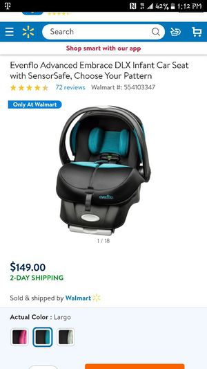 Evenflo advanced sensorsafe car seat for Sale in NV, US