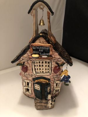 "2002 Blue Sky Corp by Heather Gdmine ceramic schoolhouse, 11""x7"", local pick up for Sale in Corona, CA"