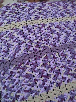 Purple Crochet Afghan made with Bernat Heavy duty soft yarn for Sale in Port Richey, FL