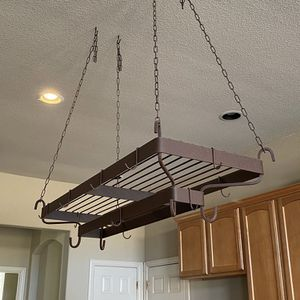 Wrought Iron Pot Pan Kitchen Rack Decor, High End Very Heavy for Sale in Rockwall, TX