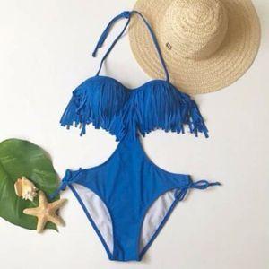Blue fringe halter one piece swimsuit bathingsuit Size XS for Sale in GRANT VLKRIA, FL