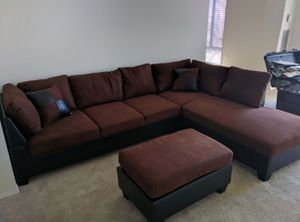 Brand New Brown Microfiber Sectional Sofa Couch + Ottoman for Sale in Kensington, MD